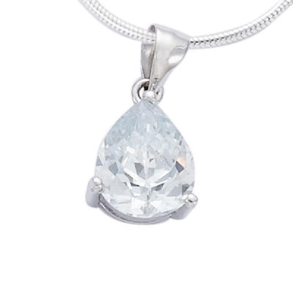 Sold alone: chain not included So Chic Jewels 925 Sterling Silver Clear Cubic Zirconia Drop Pendant