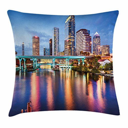 Ambesonne City Throw Pillow Cushion Cover, Hillsborough River Tampa Florida USA Downtown Idyllic Evening at Business District, Decorative Square Accent Pillow Case, 26 X 26 Inches, (Party City Tampa)