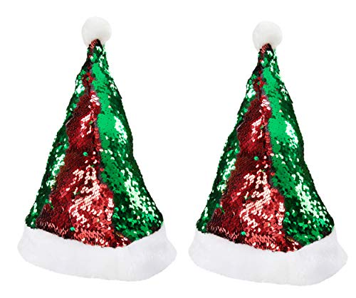 Magic Reversible Sequin Santa Hat - 2-Pack Red and Green Double Sided Sequin Christmas Hat, Festive Holiday Accessories for Adults and Teens, Size Small, Circumference 22.75 Inches