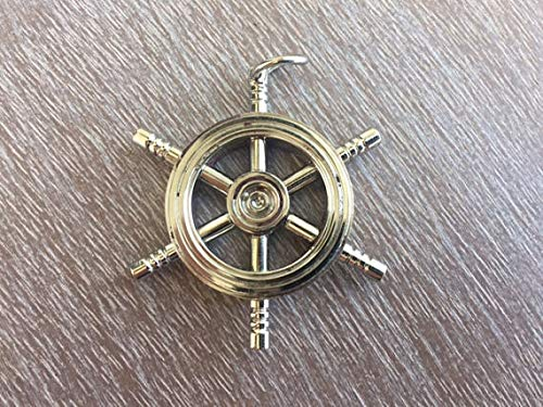 Rustic & Primitive Crafting Supplies (B) Manufactured to Look Antique Chrome/Silver Finish Brass Ship Wheel - Necklace Pendant Charm - Vintage Style Inspiration for A Project from Rustic & Primitive Crafting Supplies (B)