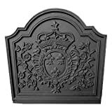 Black Cast Iron Crown Medallion Fireback - 19.75 x 19.75 inch