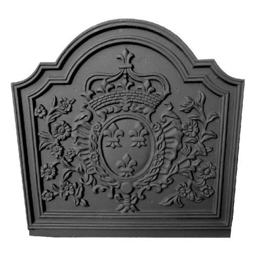 Black Cast Iron Crown Medallion Fireback - 19.75 x 19.75 inch by Shop Chimney