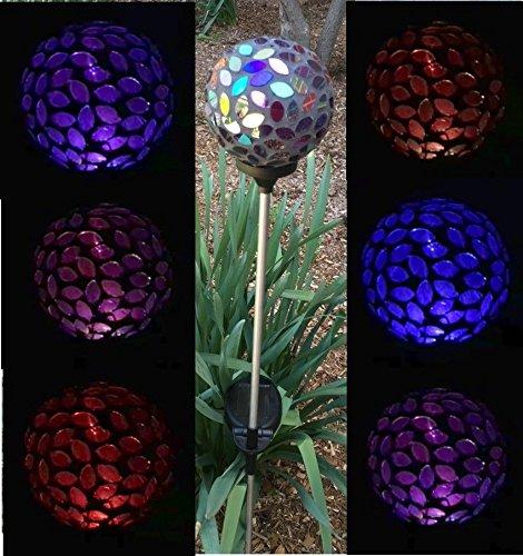 Solar Powered Led Mosaic Glass Garden Stake Lights in US - 5