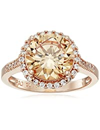 Rose Gold-Plated Sterling Silver Champagne and White Cubic Zirconia Halo Ring, Size 7