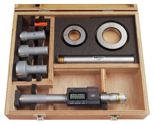Mitutoyo 468-978 Digimatic Holtest LCD Inside Micrometer, Interchangeable Head Set, 0.8-2