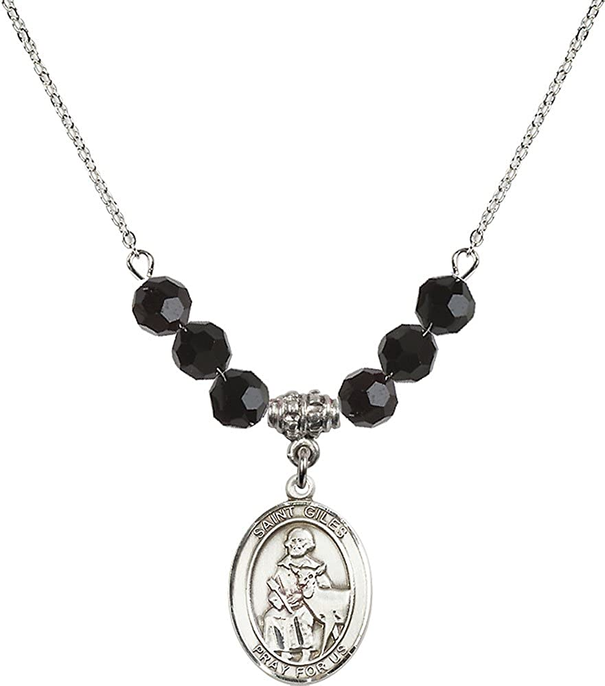 18-Inch Rhodium Plated Necklace with 6mm Jet Birthstone Beads and Sterling Silver Saint Giles Charm.