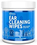 Ear Cleaning Grooming Wipes for Dogs with Aloe Vera, Chamomile, Oatmeal & Coconut Oil