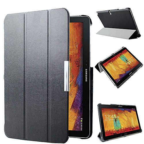 Kuesn SM-P600 P601 P605 Smart Stand Cover Case for Samsung Galaxy Note 10.1 (2014 Edition) Ultra Slim Flip Folio Pu Leather Case Pouch with Magnetic Auto Slepp&Awake up (Black) (Best Note 10.1 Case)