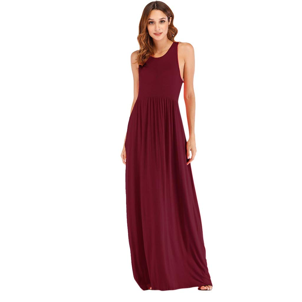 Fashion Vest Dress Loose Plain Long Maxi Summer Dresses Pockets IEasⓄn Women Sleeveless Solid Ankle-Length Dress