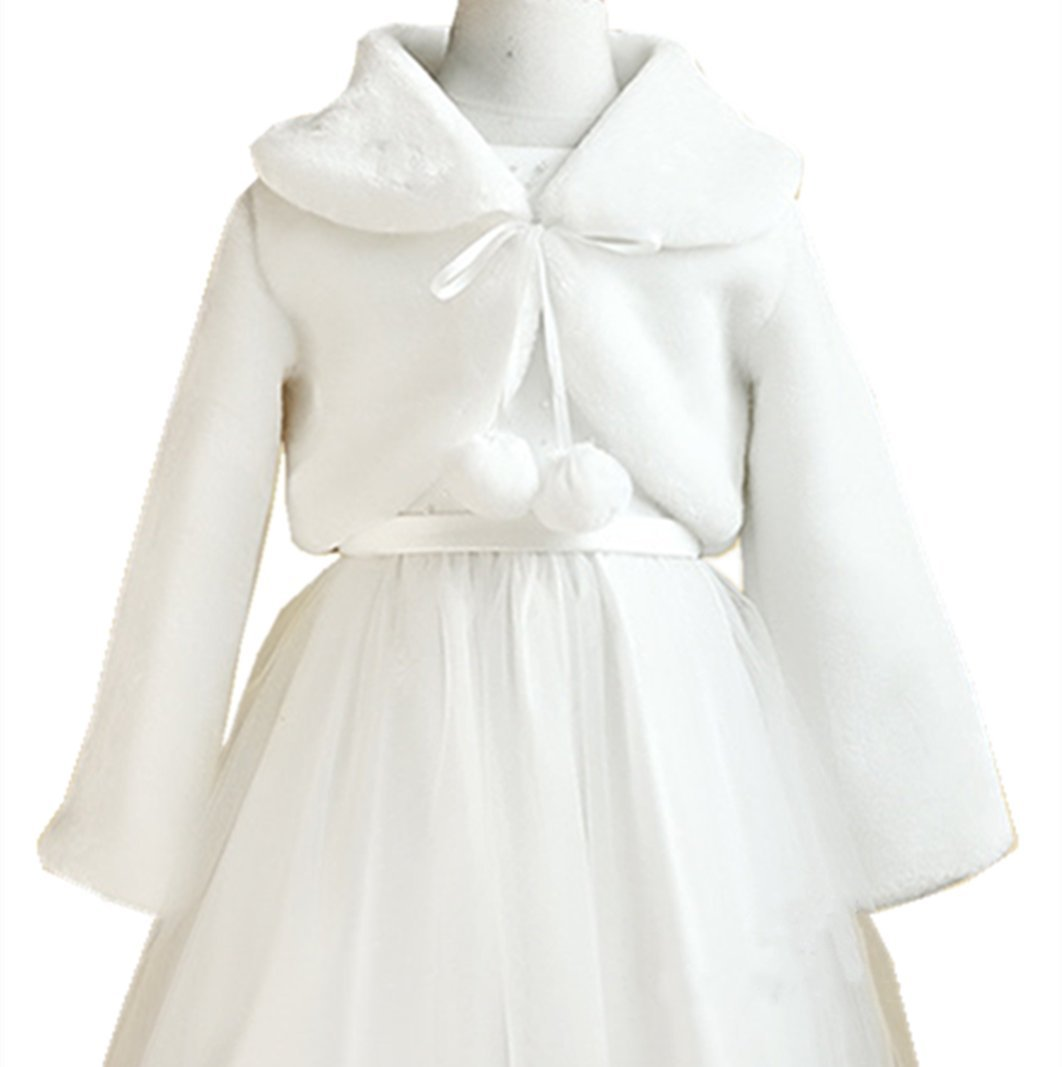 H.X Little Girl's Winter Long Sleeve Faux Fur Bolero Outerwear Jacket Coat Wraps Shawl (4-7 years, White)