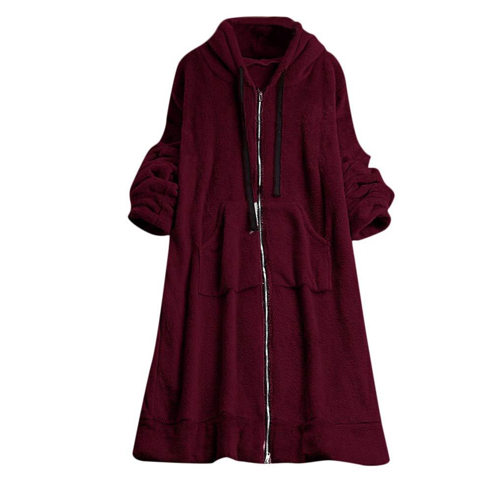 Ghemdilmn Moda para Mujer De Las Señoras De Invierno Sólido De Felpa con Cordón con Capucha Larga Sudaderas Abrigo Outwear Pullover 2018 Invierno: ...