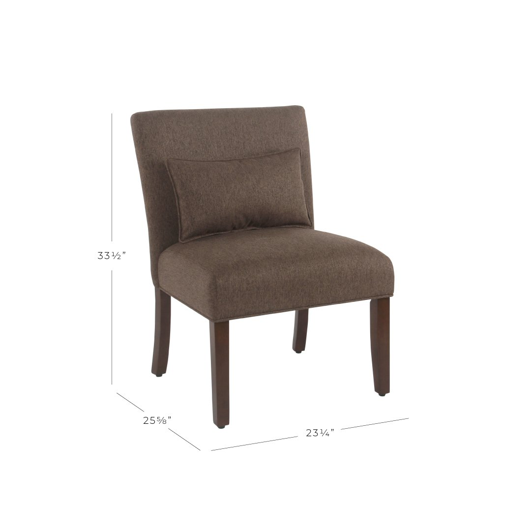 Spatial Order Dinah Modern Armless Accent Chair with Pillow, Brown