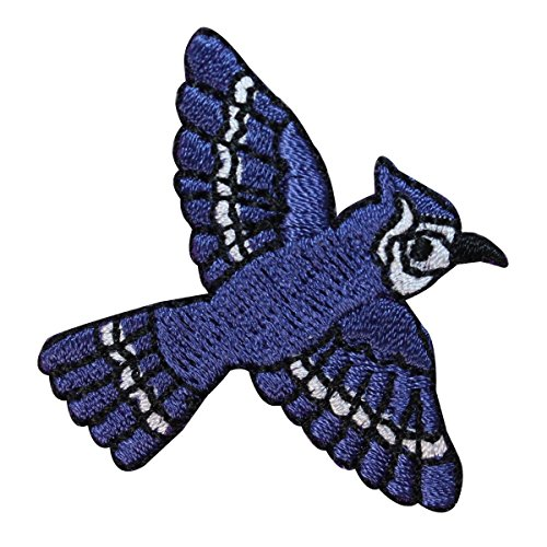 ID 1635 Blue Jay Flying Patch Bird Fly Watching Embroidered Iron On Applique (Jays Applique Blue)