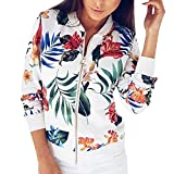 Women Casual Floral Printed Quilted Zipper Bomber Lightweight Jacket With L ....