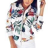 WEUIE Women Outwear Clearance Sale! Women Ladies Printing Long Sleeve Tops Zipper Jacket Outwear Loose Tops (S,White)