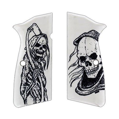 Hogue 09026 Browning Hi-Power Scrimshaw Ivory Polymer Grip Panels, Grim Reaper