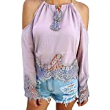 Yihaojia Lace Off Shoulder Strapless Womens Flare Sleeve T-Shirt Tank Comfy Casual Blouse Tops Basic Tee (Gray, XL)