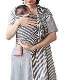 Vlokup Baby Sling Ring Sling Carrier Wrap   Extra Soft Lightweight Cotton Baby Slings for Infant, Toddler, Newborn and Kids   Great Gift, Lightly Padded Adjustable Nursing Cover Black Stripe