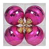 Vickerman 576298-4'' Orchid Shiny-Matte Mirror Ball Christmas Tree Ornament (4 pack) (M151469)
