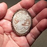 1930's Cameo Hand Carved Carnelian Shell,Psyche with Butterfly, GODDESS of LOVE. Pendant Converter & GP Necklace Available