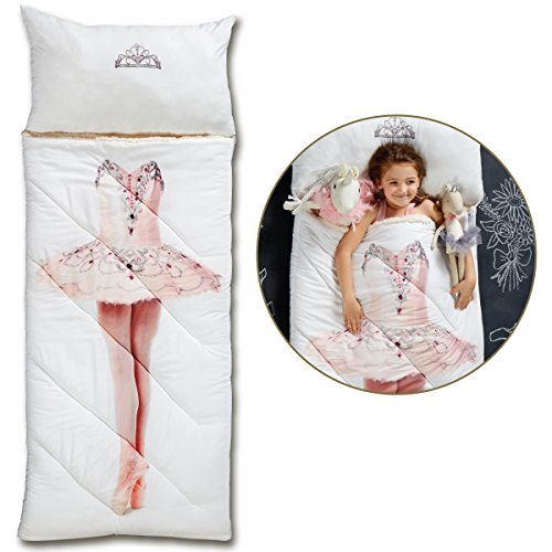 FAO SCHWARZ Imagine This Printed Ballerina Sleeping Bag for Kids, Realistic Dancer Design, Cozy Comfortable Sherpa Lining W/ Integrated Pillow & Travel Straps, Full Size, Perfect For Sleepovers, 66