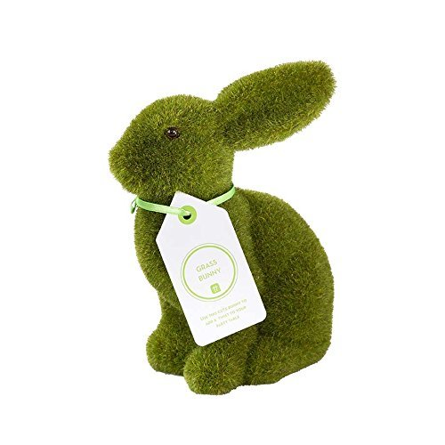 Talking Tables Great Easter Egg Hunt Furry Flocked Bunny Rabbit Easter Décor for an Easter Celebration or Children's Party, Green