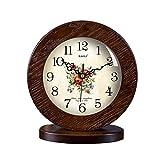HAOFAY clock - Retro Vintage Mantel/European Modern Solid Wood Mute Quartz Clock Desk And Shelf Clock