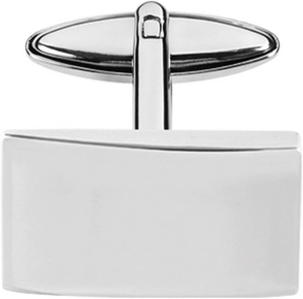 Orton West Mens Plated Rectangle Cufflinks Silver