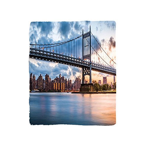 VROSELV Custom Blanket New York City Blue Kennedy Triboro Bridge and Queens NYC Lights Manhattan River Picture Bedroom Living Kids Room Dorm Art Navy Blue (Customized Gift Baskets Nyc)