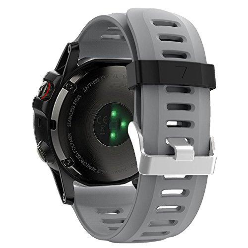 ZSZCXD Band for Garmin Fenix 3 / Fenix 3 HR/Fenix 5X, Soft Silicone Wristband Replacement Watch Band for Garmin Fenix 3 / Fenix 3 HR/Fenix 5X Smart Watch (Grey)
