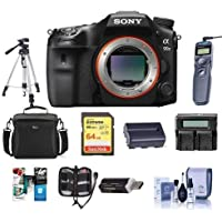 Sony a99 II Full Frame Translucent Mirror DSLR Camera, - Bundle With 64GB SDHC Card, Camera Case, Spare Battery, Tripod, Dual Charger, Remote Shutter Release, Cleaning Kit, Software Package, And More
