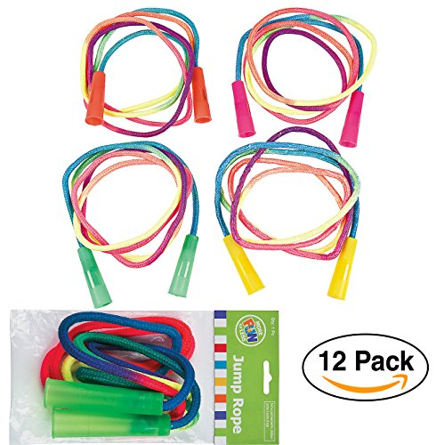 Rainbow Jump Ropes (12 Pack) 7 ft. for Birthday Party Favors/Goodie Bags/Party giveaways