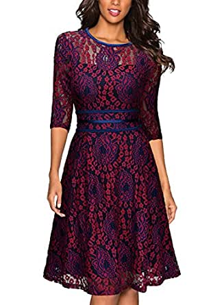 Miusol Womens Vintage Floral Lace 2/3 Sleeve Cocktail Evening Party Dress, Dark Red and Purple, Small
