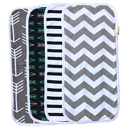 "Burp Cloths 20"" by 10"" 2 Layers Cotton Plus 1 Layer Absorbent fleece Grey Wave Black Stripes Arrows 4 Pack by Arnzion (Image #1)"