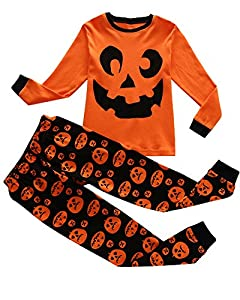 Family Feeling Halloween Pumpkin Little Boys Pajamas Sets Toddlers Clothes