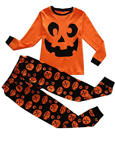 Family Feeling Halloween Pumpkin Little Boys Pajamas Sets 100% Cotton Clothes Toddler Kids Pjs Size 7 (Boys Halloween Clothes)