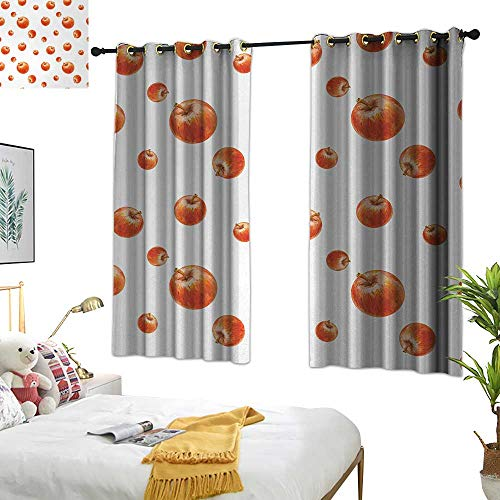 (RuppertTextile Apple Sliding Curtains Watercolor Style Cameo Apples Abstract Kitchen Elements Brush Stroke Effects 63