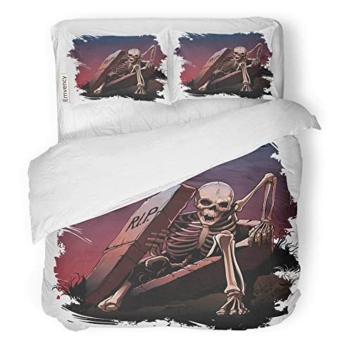 Emvency 3 Piece Duvet Cover Set Brushed Microfiber Fabric Breathable Awake Skeleton from Coffin Body Bones Dark Bedding Set with 2 Pillow Covers Twin Size -