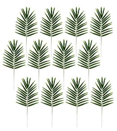 Blue Panda Faux Fern Leaves - 12-Pack Fake Tropical Leaves, Artificial Palm Leaves Hawaiian Luau Party, Pool Party Decorations, Green, 21 x 10.2 inches