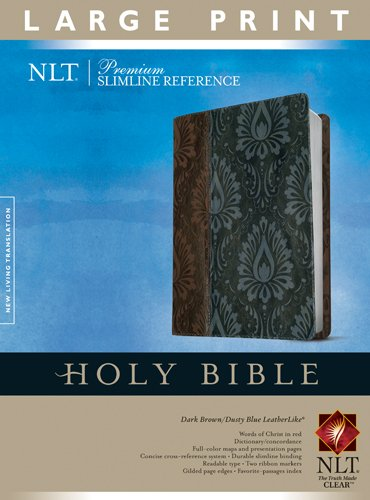 Premium Slimline Reference Bible NLT, Large Print, TuTone (Red Letter, LeatherLike, Dark Brown/Dusty Blue)