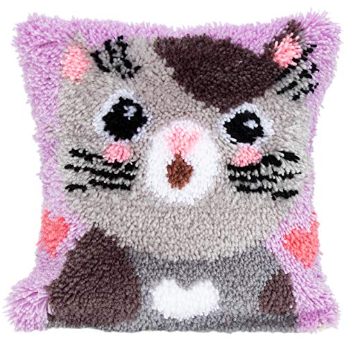 Beyond Your Thoughts DIY Latch Hook Kits Throw Pillow Cover Cute CAT Rug Pattern Printed 16X16 inch, Crochet Needlework Crafts for Kids and Adults