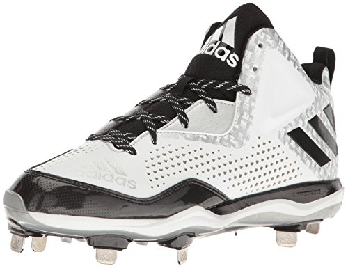 adidas Performance Herren PowerAlley 4 Mid Baseballschuh Weiß / Schwarz / Metallic / Silber