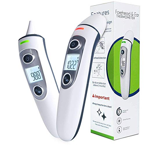 Baby Digital Ear Thermometer, Medical Forehead Infrared Thermometer for Fever, Dual Mode and Instant Accurate Reading Thermometer for Adults, Toddlers and Kids (White) (Best Ear Thermometer For Toddlers)