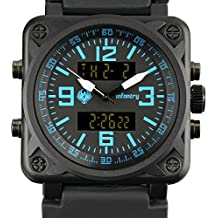 INFANTRY Big Face Mens Tactical Military Watch Large Sport Wrist Watches for Men Silicone Band Heavy Duty