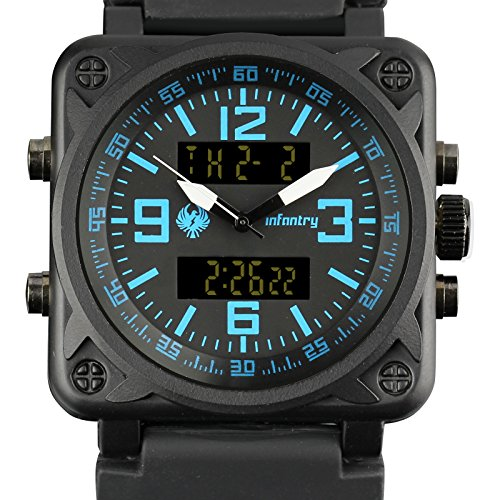 Time Mens Wrist Watch (INFANTRY Big Face Mens Tactical Military Watch Large Sport Wrist Watches for Men Silicone Band Heavy Duty)