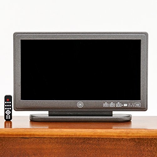 Odoria 1:12 Miniature LED TV Television with Remote Control Dollhouse Decoration Accessories