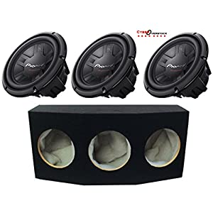 "3 Pioneer TS-W261D4 Champion Series 10"" Subwoofers With Dual 4-ohm Voice Coils And Absolute TSS10 10"" Triple Slot Sealed MDF Enclosure"