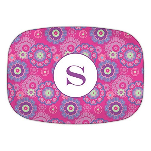Chatsworth Nadia Melamine Platter with Single Initial, Y, Multicolored