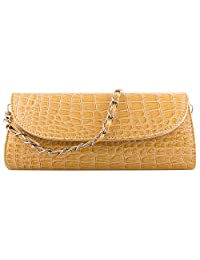 Bundle Monster Womens Envelope Evening Patent Croc Skin Embossed Clutch Hand Bag