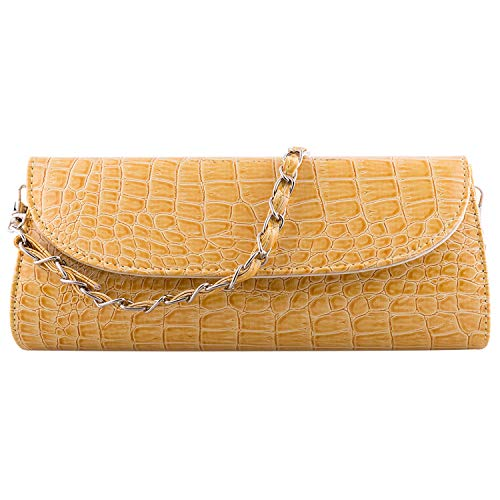 Bundle Monster Womens Envelope Evening Patent Croc Skin Embossed Clutch - YELLOW - Green Patent Embossed Handbag